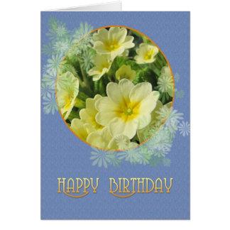 Happy Birthday Primroses and Blue Card
