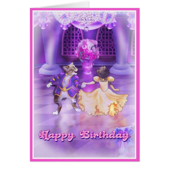 Happy Birthday Princess Cats Style 001 Card