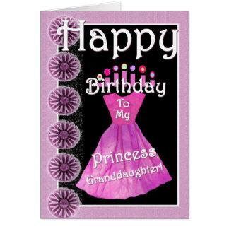 Happy Birthday Princess Granddaughter - Pink Dress Card