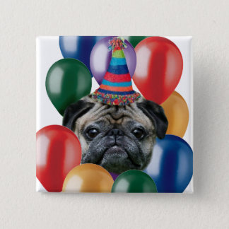 Happy birthday Pug dog 15 Cm Square Badge