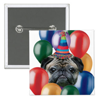 Happy birthday Pug dog 15 Cm Square Badge