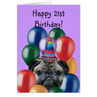 Happy Birthday pug dog greeting card