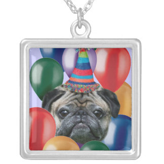 Happy Birthday pug dog Necklace