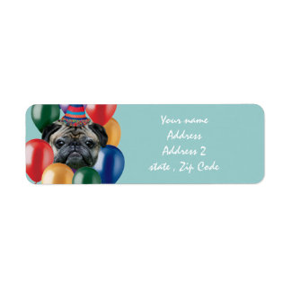 Happy Birthday pug dog Return Address Label