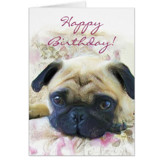 Happy Birthday Pug greeting card