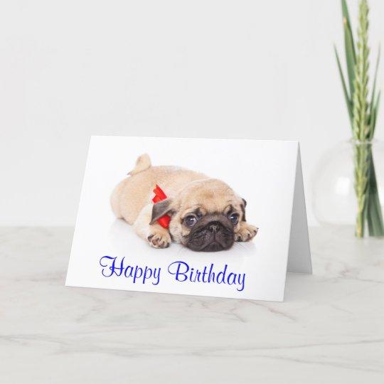 Happy Birthday Pug Puppy Dog Card