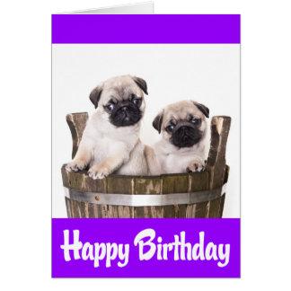 Happy Birthday Pug Puppy Dogs Greeting Card  Verse