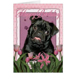 Happy Birthday - Pug - Ruffy Greeting Card