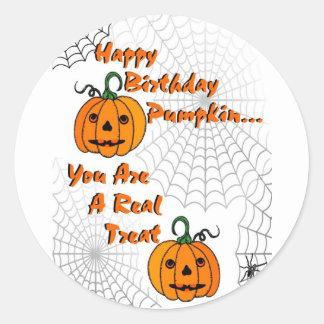 Happy Birthday Pumpkin Round Sticker