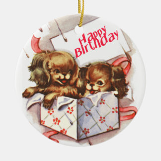 Happy Birthday Puppies Christmas Ornament