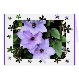 Happy Birthday!-Purple Clematis in flower frame. Card