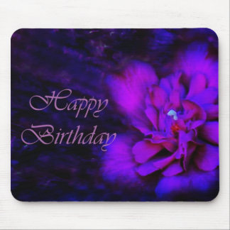 Happy Birthday - Purple Flower Mouse Pad