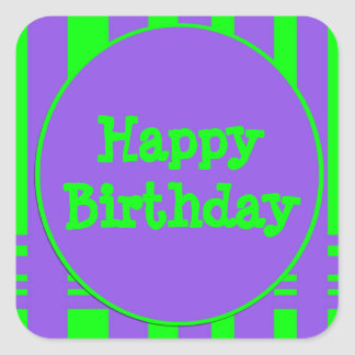 Happy Birthday purple green stripes Square Sticker