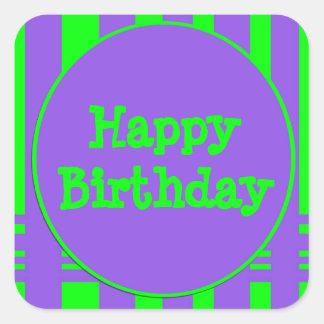 Happy Birthday purple green stripes Square Sticker