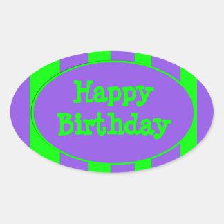 Happy Birthday purple green stripes Oval Sticker