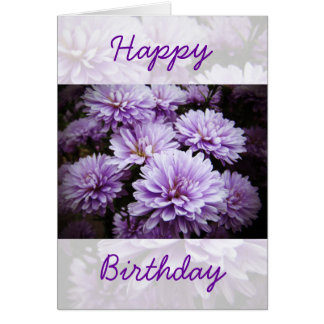 Happy Birthday - Purple Haze Chrysanthemums Card