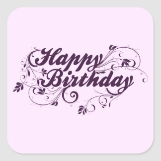 Happy Birthday Purple Swirls Square Sticker