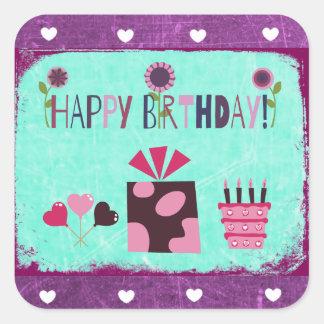 Happy Birthday Purple Teal Birthday Cake Stickers