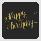 Happy Birthday Quote Gold Faux Foil Quotes Square Sticker