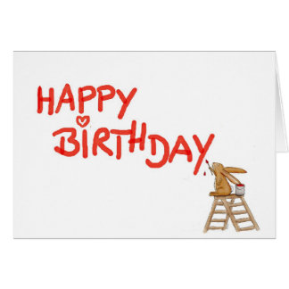 Happy Birthday - Rabbit on Ladder Greeting Card