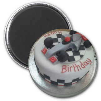 happy birthday racing car 6 cm round magnet