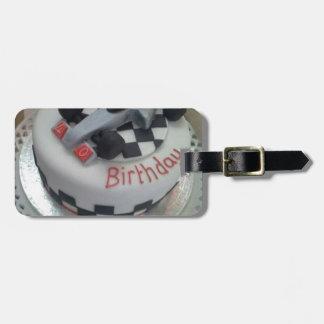 happy birthday racing car bag tag