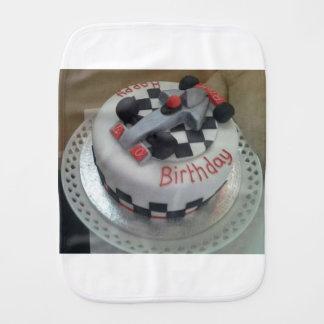 happy birthday racing car burp cloth