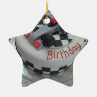 happy birthday racing car ceramic star decoration