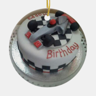 happy birthday racing car round ceramic decoration