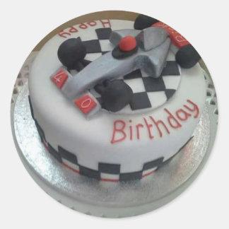 happy birthday racing car round sticker