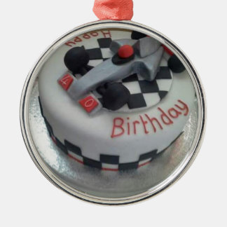 happy birthday racing car Silver-Colored round decoration