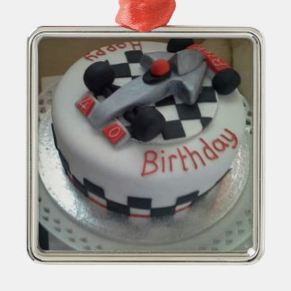 happy birthday racing car Silver-Colored square decoration