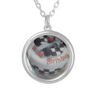 happy birthday racing car silver plated necklace