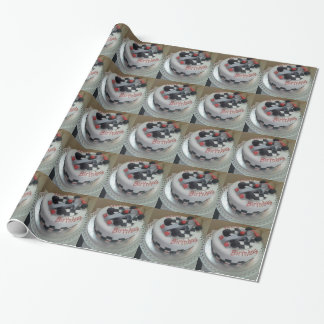 happy birthday racing car wrapping paper