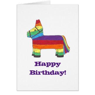 Happy Birthday Rainbow Donkey Pinata Fiesta Party Card