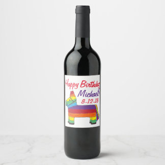 Happy Birthday Rainbow Donkey Pinata Fiesta Party Wine Label