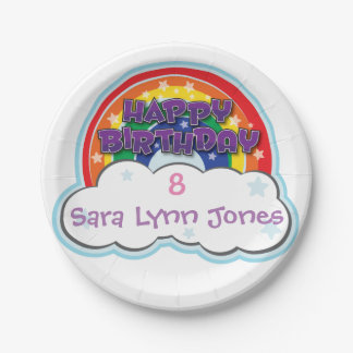 HAPPY BIRTHDAY RAINBOW | personalised plates 7 Inch Paper Plate