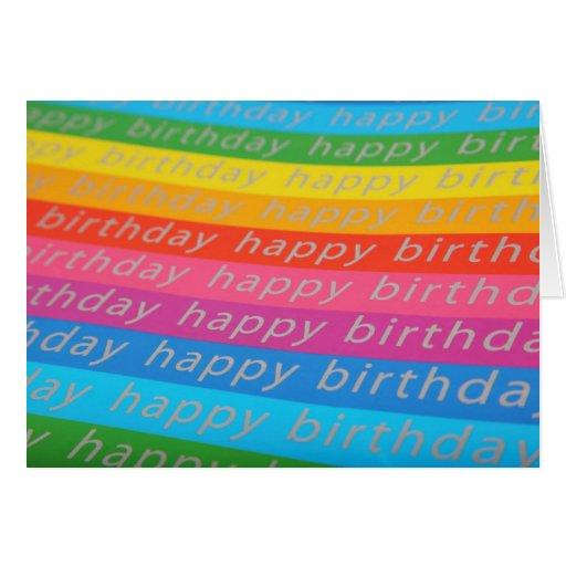 Happy Birthday Rainbow Stripes Birthday Card