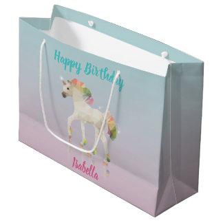 Happy Birthday Rainbow Unicorn Name Large Gift Bag