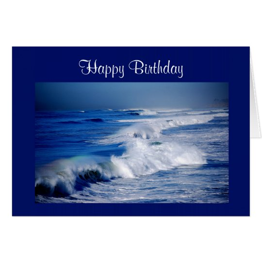 Happy Birthday Rainbows Over Ocean Waves Card
