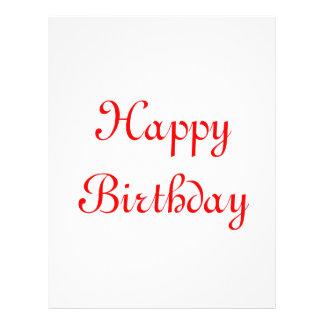 Happy Birthday. Red and White. Custom 21.5 Cm X 28 Cm Flyer