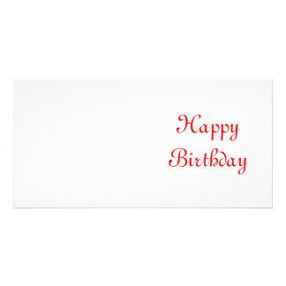 Happy Birthday. Red and White. Custom Card