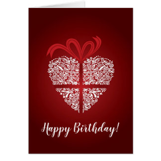 Happy Birthday red card with white heart ornament