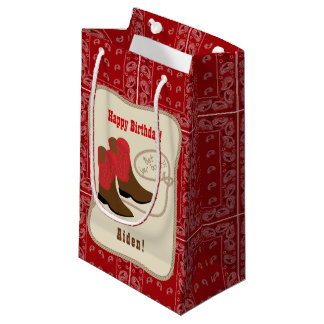 Happy Birthday Red Cowboy Boots & Bandana Small Gift Bag