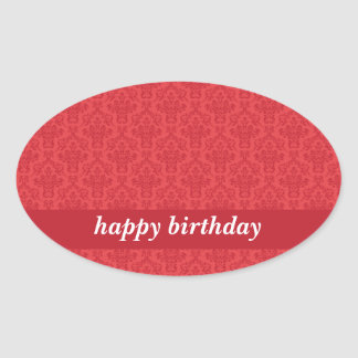 Happy birthday red, luxury elegant damask stickers