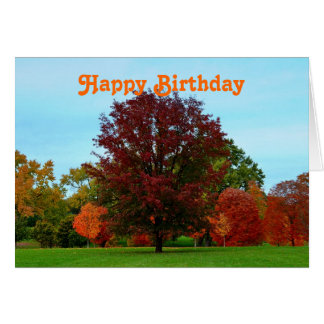 Happy Birthday Red Oak Tree in Autumn Cards