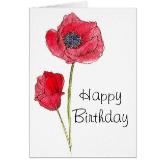 Happy Birthday Red Poppy Flower Botanical Art Card