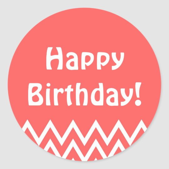 Happy Birthday - Red Round Sticker
