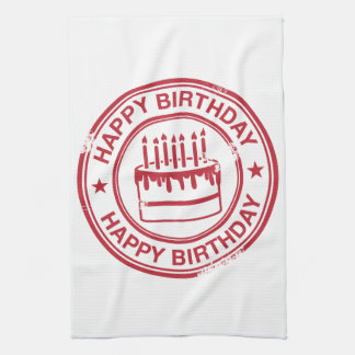 Happy Birthday -red rubber stamp effect- Tea Towel