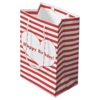 Happy Birthday! | Red Stripes &  Heart Gift Bag